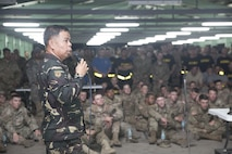 Philippine Army Col. Tony Florendo speaks to U.S. Soldiers about Balikatan 2017 at Fort Magsaysay in Santa Rosa, Nueva Ecija, May 3, 2017. Florendo is the garrison commander of Fort Ramon Magsaysay. Balikatan is an annual U.S.-Philippine bilateral military exercise focused on a variety of missions, including humanitarian assistance and disaster relief, counterterrorism, and other combined military operations.