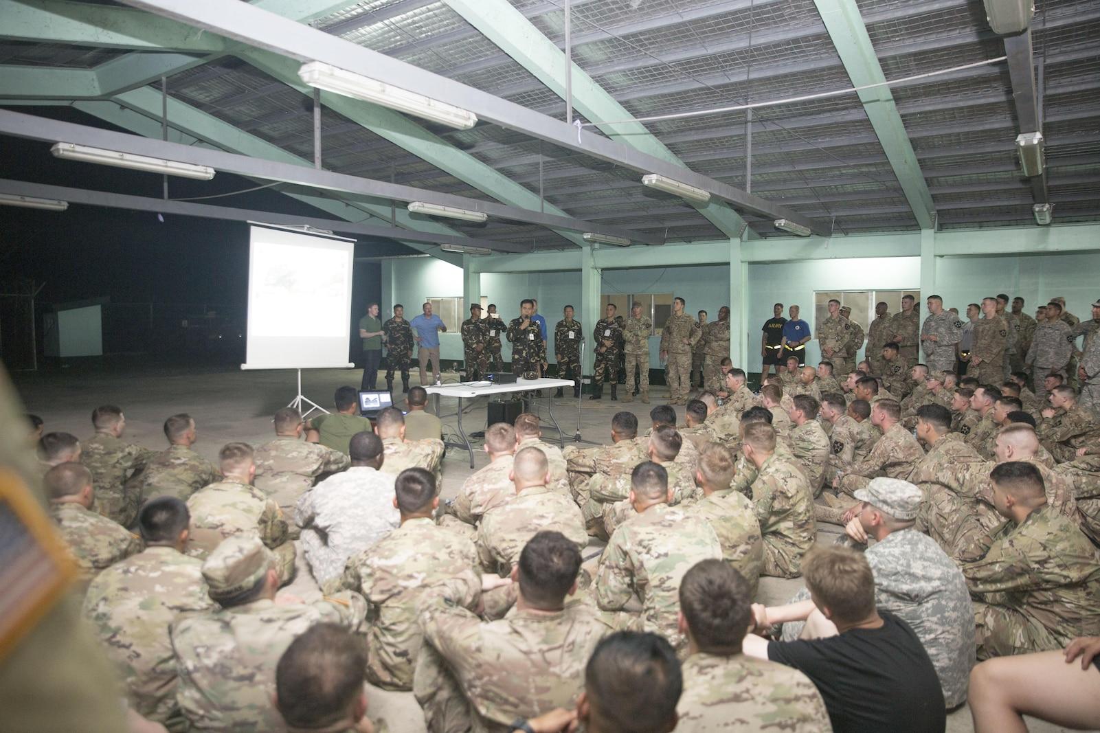 Philippine Army Col. TonyFlorendo briefs U.S. Soldiers about Balikatan 2017 at Fort Magsaysay in Santa Rosa, Nueva Ecija, May 3, 2017.
