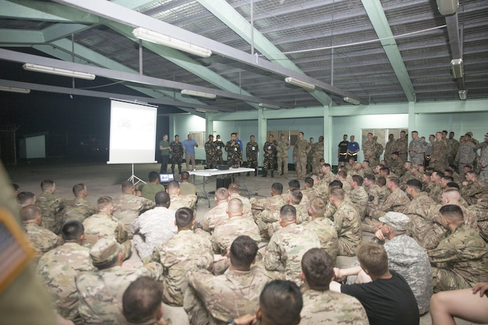 Philippine Army Col. Tony Florendo briefs U.S. Soldiers about Balikatan 2017 at Fort Magsaysay in Santa Rosa, Nueva Ecija, May 3, 2017. Florendo is the garrison commander of Fort Magsaysay. Balikatan is an annual U.S.-Philippine bilateral military exercise focused on a variety of missions, including humanitarian assistance and disaster relief, counterterrorism, and other combined military operations.
