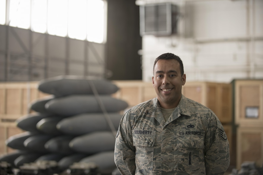 EIELSON AIR FORCE BASE, Alaska – U.S. Air Force Staff Sgt. Scott Dougherty, the 335th Aircraft Maintenance Unit weapons load crew team chief assigned to Seymour Johnson Air Force Base, N.C., poses for a photo May 4, 2017, during NORTHERN EDGE 2017 (NE17) at Eielson Air Force Base, Alaska. NE17 is Alaska's premier joint training exercise designed to practice operations, techniques and procedures as well as enhance interoperability among the services. Thousands of participants from all the services, Airmen, Soldiers, Sailors, Marines and Coast Guardsmen from active duty, Reserve and National Guard units are involved. (U.S. Air Force photo/Staff Sgt. Ashley Nicole Taylor)