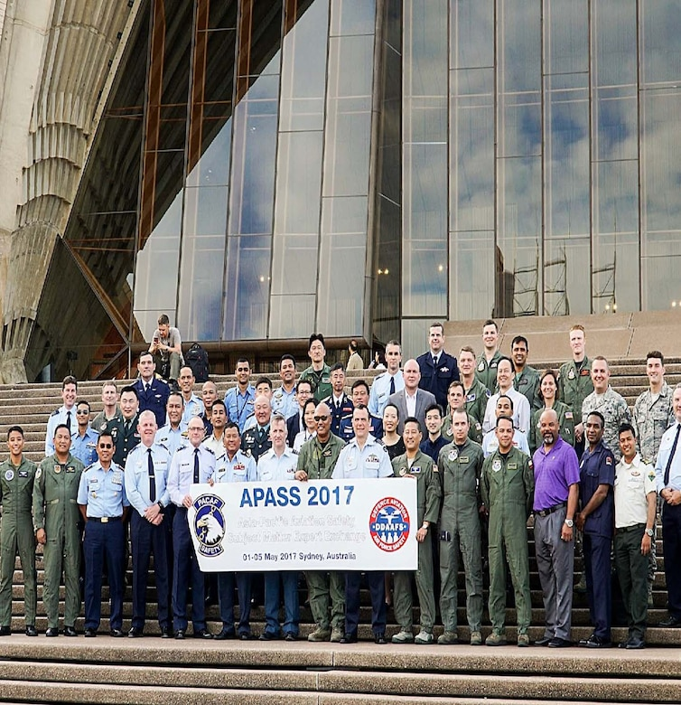 U.S. Air Force and Royal Australian Air Force safety experts pose for a group photo during U.S. Pacific Command's annual Asia-Pacific Aviation Safety Subject Matter Expert Exchange (APASS) in Sydney, Australia. APASS creates a forum for discussing a wide range of aviation safety issues, sharing aviation safety concepts, tools, and techniques; and facilitates trust, cooperation and interoperability in an effort to improve aviation safety standards amongst Indo-Asia-Pacific nations.   (Courtesy photo)