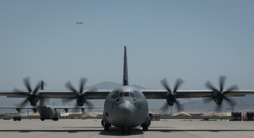A C-130J Super Hercules prepares for takeoff at Bagram Airfield, Afghanistan, May 5, 2017. Deployed out of Dyess Air Force Base, Texas, the C-130J and its support personnel provides tactical airlift, including aeromedical evacuation, cargo and personnel airlift and airdrop, and any intra-theater transportation needed to support a successful train, advise and assist mission in Afghanistan. (U.S. Air Force photo by Staff Sgt. Benjamin Gonsier)