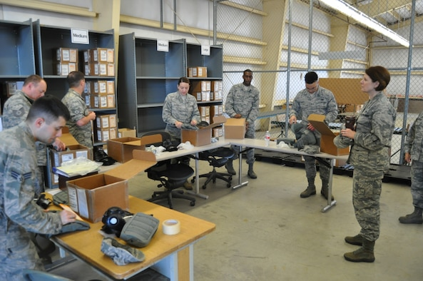 Col. Barbara Ortiz, Air Force Reserve Command Logistics Readiness Division chief, visits with 433rd Logistics Readiness Squadron supply Airmen during a tour May 6, 2017.  Col. Ortiz visited with the 433rd LRS, 74th and 26th Aerial Port Squadrons to gain a better understanding of the specific mission here, and to help address any questions or concerns of the wing's leadership. (U.S. Air Force photo/Senior Airman Bryan Swink)