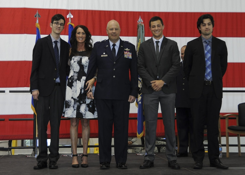 Brig. Gen. Brian Borgen, the 442d Fighter Wing Commander, and his family pose for a photo during his promotion ceremony at Whiteman Air Force Base, Mo., May 6, 2017. Borgen has over 3,900 flying hours and has supported multiple operations including Deny Flight, Enduring Freedom and Northern Watch. (U.S. Air Force photo by Senior Airman Missy Sterling)