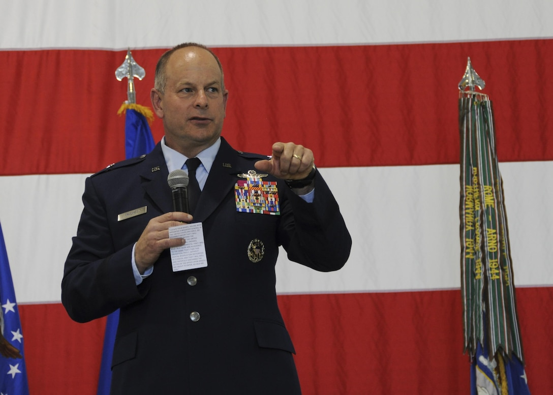 Brig. Gen. James F. Mackey, Mobilization Assistant to the Director of Operations, Joint Base Langley-Eustis, Virginia, addresses the audience during a promotion ceremony for the 442d Fighter Wing commander at Whiteman Air Force Base, Mo., May 6, 2017. Mackey is a former vice commander of the 442d FW and former 442d Operations Group commander. (U.S. Air Force photo by Senior Airman Missy Sterling)