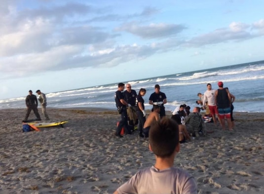 While surf fishing off the beach at Patrick Air Force Base, Florida, Tech. Sgt. Shaun Hartman risked his life to save 8 others who got caught in rip currents April 14, 2017. Three weeks after that harrowing day during the 920th Rescue Wing's drill training weekend May 7, 2017, Vice Wing Commander Col. P. Brett Howard presented Hartman with the wing commander's coin at the 308th Rescue Squadron where he serves as a medical logistics technician, for his heroics.