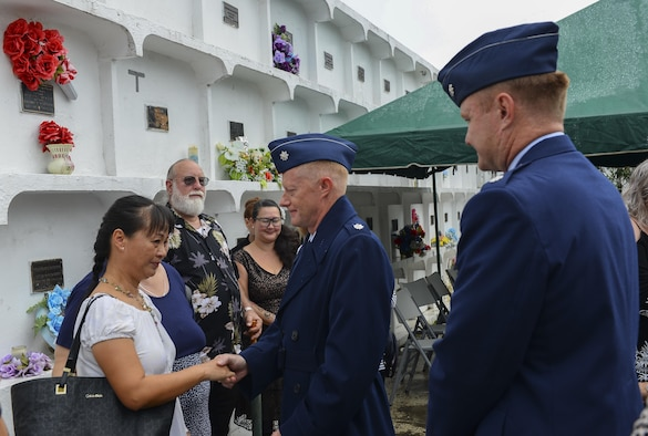 Senior Leaders from Andersen Air Force Base express condolences at Lt Col. (Ret.) Chuck McManus' funeral at the Guam Veterans Cemetery April 26, 2017, in Piti, Guam. McManus was directly involved with Linebacker II and he was the deputy director of plans at Andersen AFB. Linebacker II was an intensive bombing campaign in December 1972 ordered by President Richard Nixon to persuade the North Vietnamese to return to the Paris peace talks. The campaign lasted 11 days, totaled more than 700 sorties and more than 15,000 tons of munitions were used (U.S. Air Force photo by Airman 1st Class Christopher Quail)