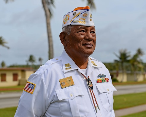 Raymond Baza, retired U.S. Army Vietnam veteran and vice commander of the Veteran of Foreign Wars Post 1509, observes the F-4E Phantom II Rededication Ceremony April 21, 2017, at Andersen Air Force Base, Guam. Baza served in the Vietnam War from 1969-1972. (U.S. Air Force photo by Airman 1st Class Christopher Quail/Released)