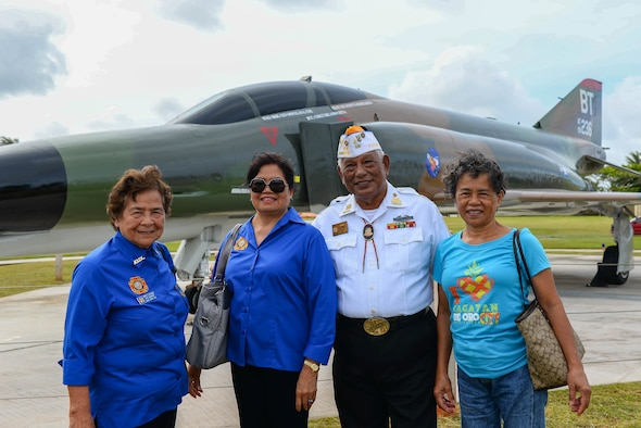 Members of the Veterans of Foreign Wars pose for a photo at the F-4E Phantom II Rededication Ceremony, April 21, 2017, at Andersen Air Force Base, Guam. The Phantom II memorial is dedicated to the men and women who gallantly supported tactical air power during the Vietnam War. (U.S. Air Force photo by Airman 1st Class Christopher Quail/Released)