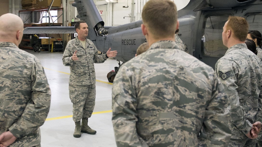 Gen. Joseph L. Lengyel, who as chief of National Guard Bureau is the National Guard's highest-ranking officer, discusses Alaska Air National Guard capabilities with members of the 176th Wing's 176th Maintenance Group here May 7, 2017. Lengyel visited the wing as part of a wider tour of Alaska National Guard installations. While here, he met with the wing's senior leaders, toured maintenance facilities, and met and fielded questions from Airmen of all ranks.
