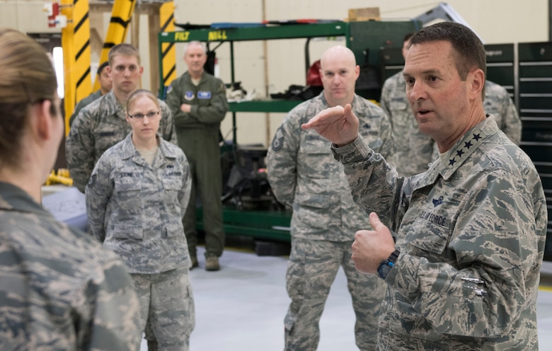 National Guard Bureau Chief Gen. Joseph L. Lengyel fields questions from members of the Alaska Air National Guard's 176th Wing here May 7, 2017. Lengyel visited the wing as part of a wider tour of Alaska National Guard installations. While here, he met with the wing's senior leaders, toured maintenance facilities, and met and answered questions from Airmen of all ranks.
