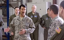 Gen. Joseph L. Lengyel (right), chief of National Guard Bureau, is briefed on the Alaska Air National Guard's innovative long-range rescue capabilities by Col. Matthew Komatsu, commander of the 176th Wing's 212th Rescue Squadron, here May 7, 2017. Lengyel visited the wing as part of a wider tour of Alaska National Guard installations. While here, he met with the wing's senior leaders, toured maintenance facilities, and met and fielded questions from Airmen of all ranks.