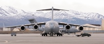 A C-17 Globe Master III aircraft sits parked on Joint Base Elmendorf-Richardson, Alaska, May 7.