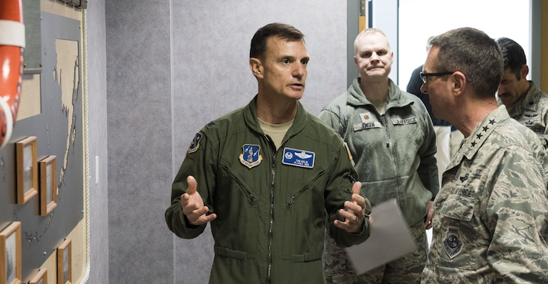 Gen. Joseph L. Lengyel (right) discusses the capabilities of the Alaska Air National Guard's 176th Operations Group with Col. Thomas Bolin, the group's commander, here May 7, 2017. Lengyel visited the 176th Wing as part of a wider tour of Alaska National Guard installations. While here, he met with the wing's senior leaders, toured maintenance facilities, and met and fielded questions from Airmen of all ranks.