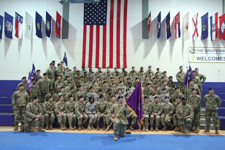 Soldiers of the 457th Civil Affairs Battalion , 361st CA Brigade, 7th Mission Support Command pose for a group photo to welcome Lt. Col. Clifton C. Kyle, the incoming commander,  after a change of command ceremony held at the Field House, Tower Barracks, United States Army Garrison, Bavaria on May 7, 2017.