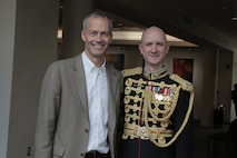 """On May 7, 2017 the Marine Band performed a concert called """"Arioso"""" which highlighted music inspired by the connection between the human voice and instruments. The featured selection included James Stephenson's (pictured) Symphony No. 2, Voices.  (U.S. Marine Corps photo by Master Sgt. Kristin duBois/released)"""