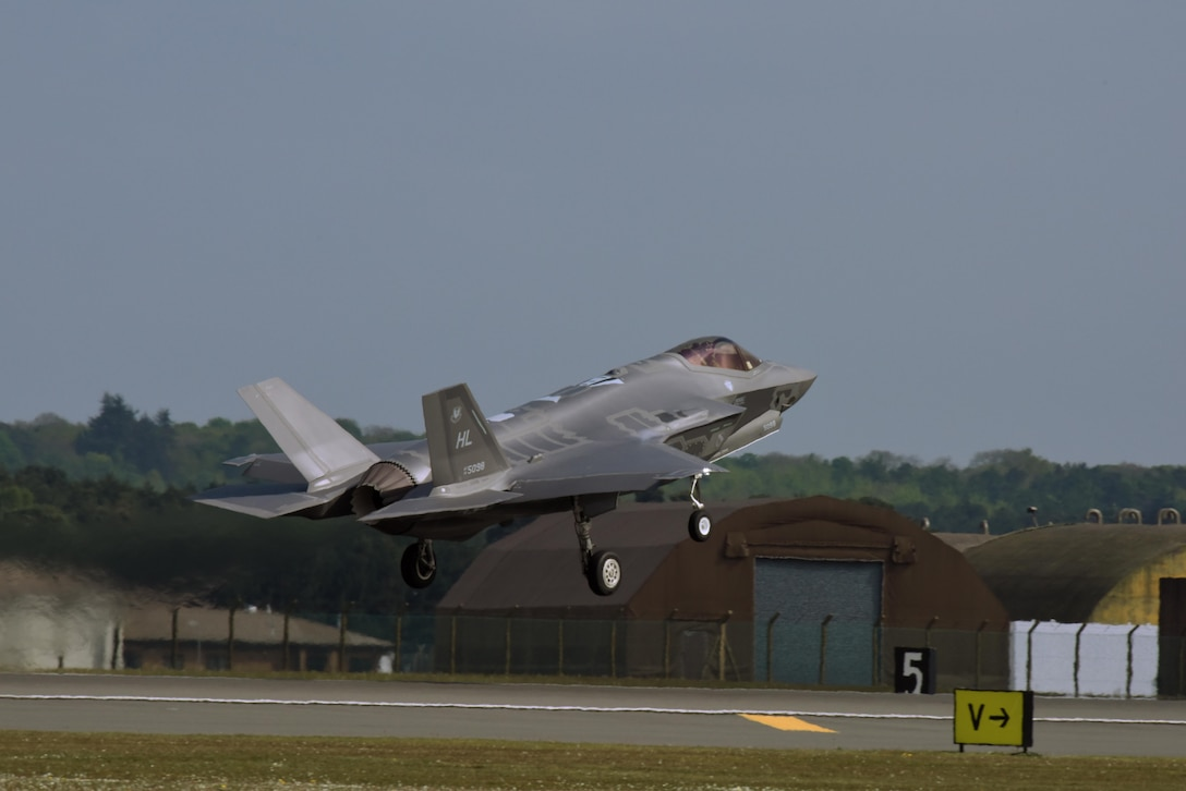 An F-35A Lightning II, assigned to the 34th Fighter Squadron at Hill Air Force Base, Utah, takes off from Royal Air Force Lakenheath, England, May 7. Eight F-35A aircraft, approximately 250 Airmen, and associated equipment had been operating out of Lakenheath during a training deployment to conduct air training with other Europe-based aircraft. (U.S. Air Force photo/Airman 1st Class John A. Crawford)
