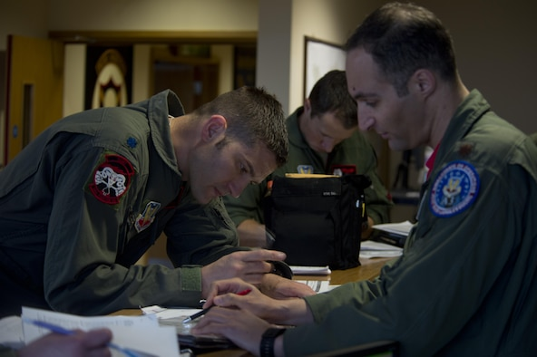 F-35A Lightning II pilots from the 34th Fighter Squadron, assigned to Hill Air Force Base, Utah, prepare to depart Royal Air Force Lakenheath, England, May 7. While at Lakenheath for a training deployment, the squadron flew 76 sorties and tallied more than 154 flying hours alongside F-15s from the 48th Fighter Wing. (U.S. Air Force photo/Master Sgt. Eric Burks)
