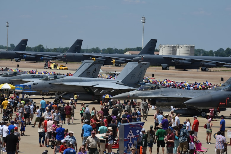 Spectators from across the local community and the world attend the 2017 Defenders of Liberty Air Show at Barksdale Air Force Base, La., May 7. The air show aims to educate the public on past and present Air Force aerial capabilities, increase recruiting and show appreciation to the community. (U.S. Air Force photo/Senior Airman Luke Hill)