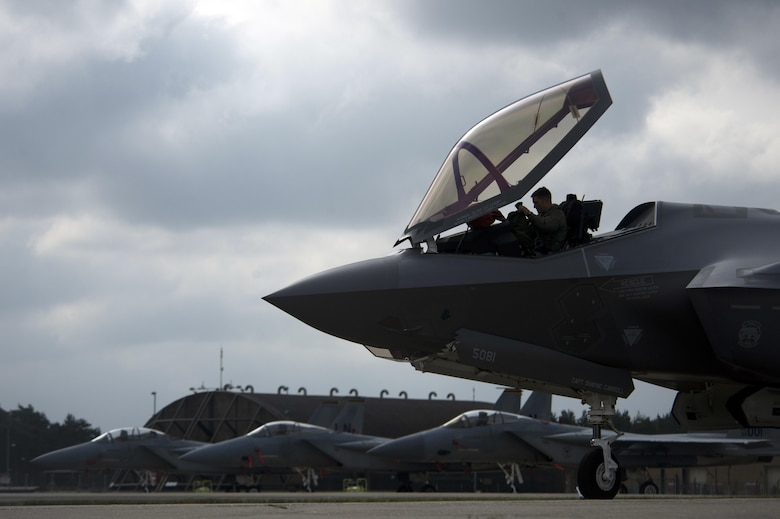 An F-35A Lightning II pilot from the 34th Fighter Squadron, assigned to Hill Air Force Base, Utah, completes pre-flight checks prior to departing Royal Air Force Lakenheath, England, May 7. Eight F-35A aircraft from the squadron, along with supporting units and equipment from Hill AFB, completed the first F-35A training deployment to Europe May 7. (U.S. Air Force photo/Master Sgt. Eric Burks)