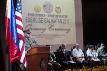 U.S. Marine Lt. Gen. Lawrence D. Nicholson speaks during the Balikatan 2017 opening ceremony at Camp Aguinaldo, Quezon City, May 8, 2017. Nicholson is the commanding general of III Marine Expeditionary Force. Balikatan is an annual U.S.-Philippine bilateral military exercise focused on a variety of missions including humanitarian and disaster relief, counterterrorism, and other combined military operations.