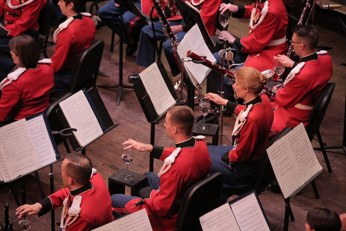 "On May 7, 2017 the Marine Band performed a concert called ""Arioso"" which highlighted music inspired by the connection between the human voice and instruments. Featured selections included Joseph Schwantner's and the mountains rising nowhere and James Stephenson's Symphony No. 2, Voices. (U.S. Marine Corps photo by Master Sgt. Kristin duBois/released)"