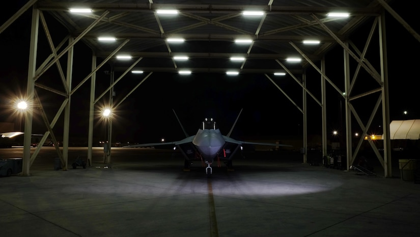 An F-22A Raptor with the 27th Expeditionary Fighter Squadron rests on the flight line after flying in support of Combined Joint Task Force- Operation Inherent Resolve at an undisclosed location in Southwest Asia, May 3, 2017. The 27 EFS, currently deployed with the 380th Air Expeditionary Wing, will celebrate its centennial May 8, 2017. This squadron is one of the oldest and most famous fighter squadrons in American history and carries on its long legacy of airpower in the fight against ISIS. (U.S. Air Force photo by Staff Sgt. Marjorie A. Bowlden)