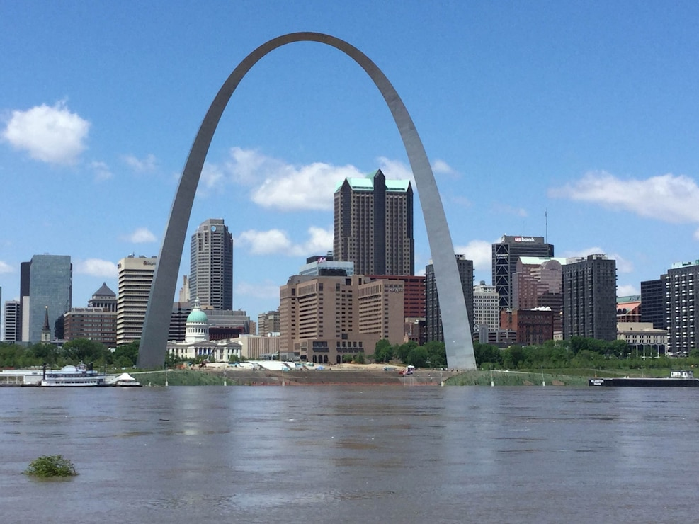 St. Louis Riverfront during the Spring 2017 flood.