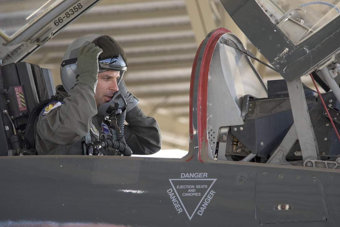Lt. Col. Kyle Goldstein, 39th Flying Training Squadron commander, prepares to take off in a T-38 C Talon May 4, 2017, at Joint Base San Antonio-Randolph, Texas during the Cobras in the Clouds exercise. The exercise gave 39th FTS members a chance to practice their war-time mission of taking control of the training mission of the 12th Operations Group. (U.S. Air Force photo by Senior Airman Stormy Archer)