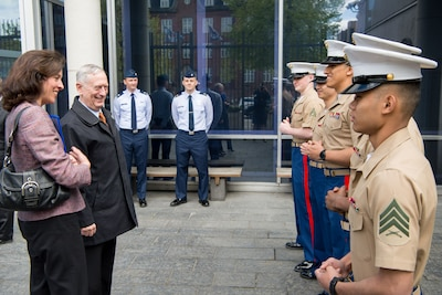 Defense Secretary Jim Mattis greets service members at the U.S. Embassy in Copenhagen, Denmark, May 8, 2017. Mattis and the Danish defense minister plan to co-host a meeting of senior leaders from 15 countries that are key contributors to the fight against the Islamic State of Iraq and Syria. DoD photo by Air Force Staff Sgt. Jette Carr