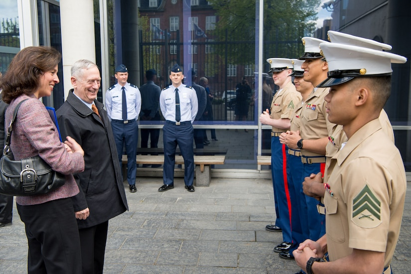 Defense Secretary Jim Mattis greets service members at the U.S. Embassy in Copenhagen, Denmark, May 8, 2017. The next day, Mattis and Danish Defense Minister Claus Hjort Frederiksen co-hosted a meeting of senior leaders from 15 countries that are key contributors to the fight against the Islamic State of Iraq and Syria. DoD photo by Air Force Staff Sgt. Jette Carr