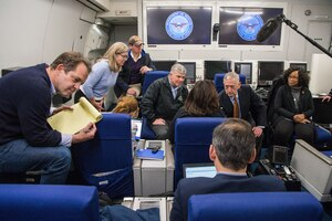 Defense Secretary Jim Mattis speaks with the press while en route to Copenhagen, Denmark, May 7, 2017. DoD photo by Air Force Staff Sgt. Jette Carr