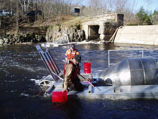 Researchers removing very young salmon bound for the Atlantic from water-powered traps in a river. (NOAA)