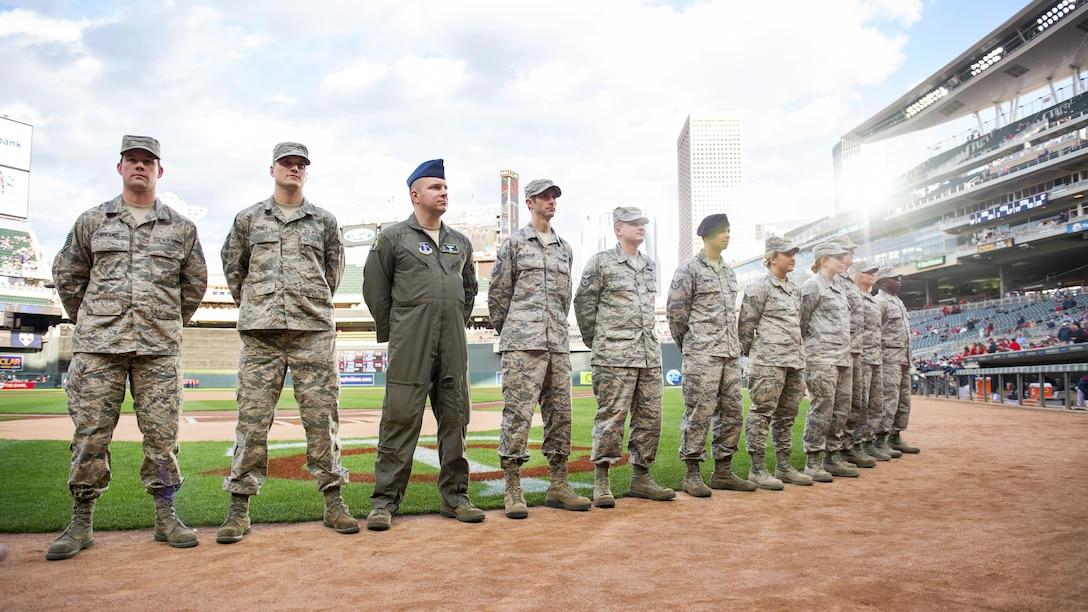Outstanding airmen from the 133rd Airlift Wing were recognized before a Minnesota Twins home game at Target Field in Minneapolis, Minn., May 2, 2017. These stellar airman were selected for being dedicated to their missions, while being leaders in both the Minnesota Air National Guard and in their communities. (U.S. Air National Guard photo by Tech. Sgt. Austen R. Adriaens/Released)