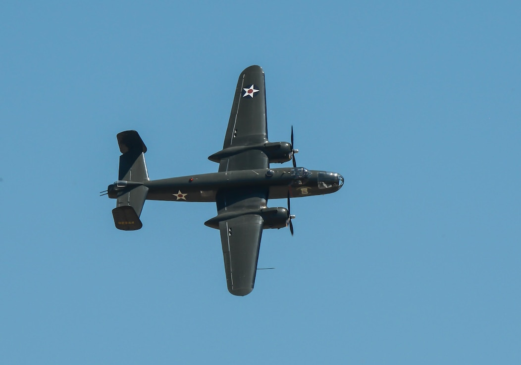 A B-25 Mitchell soars through the air during the 2017 Barksdale Air Force Base Airshow, May 6. The B-25 became one of the classic American aircraft designs to emerge during World War II. And gained national fame as the aircraft used by the famed Doolittle Raiders. (U.S. Air Force photo/Senior Airman Curt Beach)