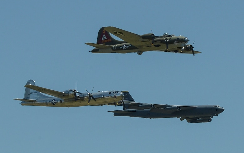 A B-29 Superfortress, B-17 Flying Fortress and B-52 Stratofortress fly in formation at the 2017 Barksdale Air Force Base Airshow, May 6. Held for the first time in 1933, the Barksdale Air Force Base Air Show is a full weekend event showcasing displays of latest as well as historical military and civilian aircraft. (U.S. Air Force photo/Senior Airman Curt Beach)