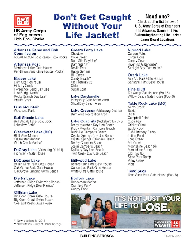 Need a life jacket?. Check out these loaner locations.