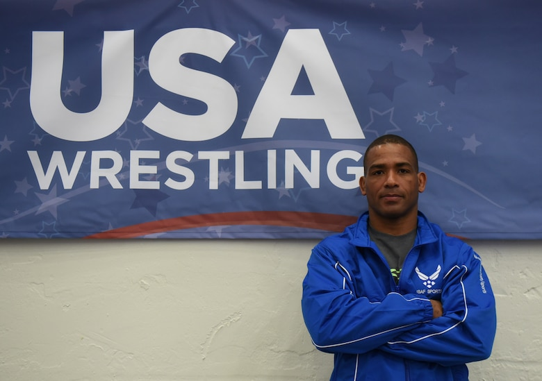 Master Sgt. Sherwin Severin poses at the 2017 Open Wrestling Championships in Las Vegas, Nev., April 29, 2017. Severin is the 90th Missile Security Forces Squadron flight chief and represents the Air Force in Armed Forces Wrestling. He is stationed at F.E. Warren Air Force Base, Wyo. (U.S. Air Force photo by Airman 1st Class Breanna Carter)
