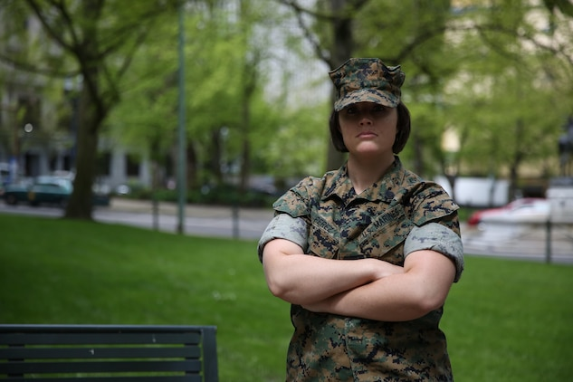 Staff Sgt. Alyson C. Perez, Administrative Chief, Recruiting Station Portland, stands for a photo in Chapman Square, Portland, Oregon, April 28, 2017. The Bourne, Mass., native is a survivor of Stage 2 breast cancer. (U.S. Marine Corps Photo by Sgt. Taylor Morton/Released)