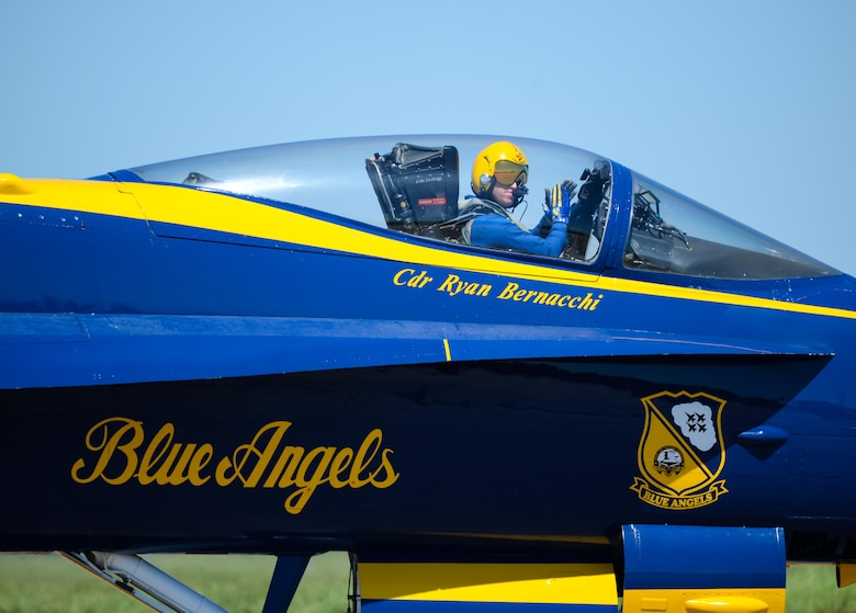 U.S. Navy Cmdr. Ryan Bernacchi, Blue Angels commanding officer, prepares to take to the skies  at the 2017 Barksdale Air Force Base Airshow, May 7. The mission of the Blue Angels is to showcase the pride and professionalism of the United States Navy and Marine Corps by inspiring a culture of excellence and service to country through flight demonstrations and community outreach. (U.S. Air Force photo/Staff Sgt. Benjamin Raughton)