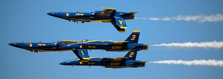 The U.S. Navy Flight Demonstration Team Blue Angels perform aerobatic maneuvers for spectators at the 2017 Barksdale Air Force Base Airshow, May 7. The mission of the Blue Angels is to showcase the pride and professionalism of the United States Navy and Marine Corps by inspiring a culture of excellence and service to country through flight demonstrations and community outreach. (U.S. Air Force photo/Staff Sgt. Benjamin Raughton)