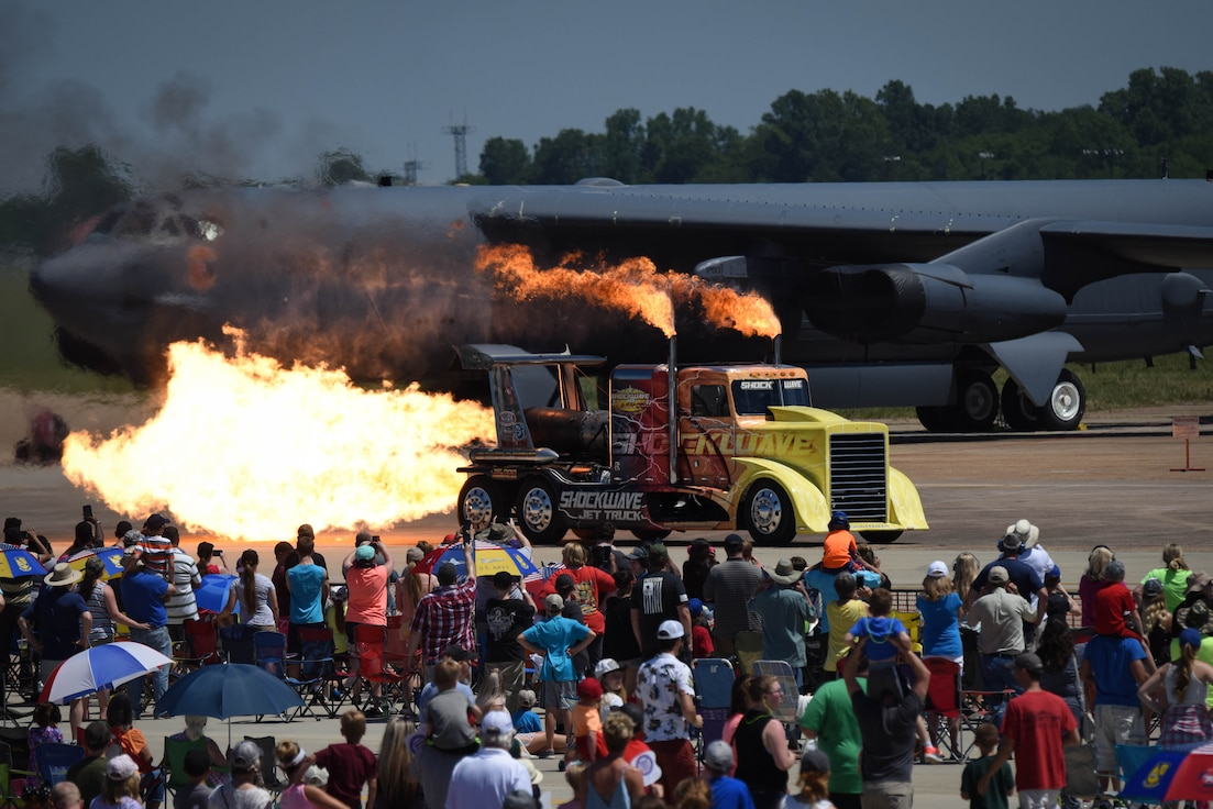 The Shockwave Jet Truck rides across the flightline in front of the audience of the Defenders of Liberty Air Show at Barksdale Air Force Base, La., May 7, 2017. The Shockwave currently holds the world record for jet-powered full-sized trucks at 376 miles per hour. (U.S. Air Force photo/Airman 1st Class Stuart Bright)