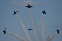 The U.S. Navy Flight Demonstration Team Blue Angels F/A-18 Hornets perform an aerial maneuver at the Defenders of Liberty Air Show at Barksdale Air Force Base, La., May 7, 2017. All of the Blue Angels' jets are aircraft carrier capable and can be made combat ready within 72 hours. (U.S. Air Force photo/Airman 1st Class Stuart Bright)