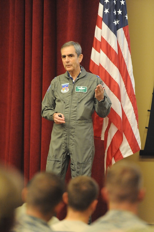 Retired colonel and former Vietnam prisoner of war Lee Ellis speaks to members of the 351st Battlefield Airman Training Squadron commander. Ellis was at Kirtland May 2-3 to speak to the base about the importance of character, courage, commitment in leaders.