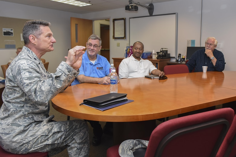 U.S. Air Force Chaplain (Lt. Col.) Robert Borger, 17th Training Wing chaplain, speaks to a group of local religious leaders as part of the Ministerial Alliance at the Taylor Chapel on Goodfellow Air Force Base, Texas, May 4, 2017. The alliance was made to better help the religious needs of the community. (U.S. Air Force photo by Airman 1st Class Chase Sousa/Released)