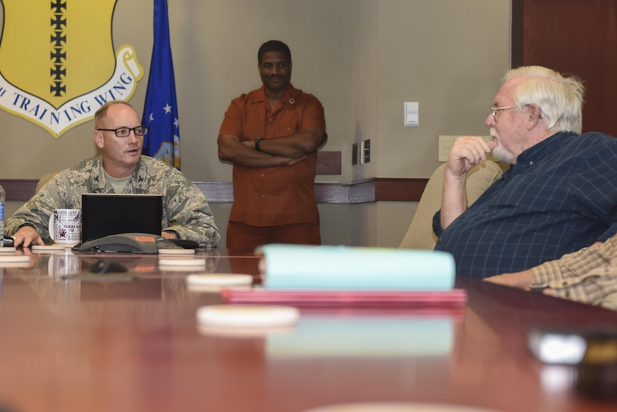 U.S. Air Force Col. Michael Downs, 17th Training Wing Commander, speaks to local pastors at the Norma Brown Headquarters building on Goodfellow Air Force Base, Texas, May 4, 2017. The meeting was part of the Ministerial Alliance to boost spiritual resiliency on and off base. (U.S. Air Force photo by Airman 1st Class Chase Sousa/Released)