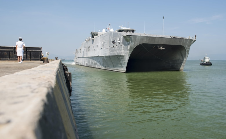 DA NANG, Vietnam (May 8, 2017) The expeditionary fast transport ship USNS Fall River (T-EPF-4) arrives in Da Nang Tien Sa Port to participate in Pacific Partnership 2017 Da Nang. Pacific Partnership is the largest annual multilateral humanitarian assistance and disaster relief preparedness mission conducted in the Indo-Asia-Pacific and aims to enhance regional coordination in areas such as medical readiness and preparedness for manmade and natural disasters.