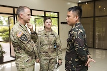 U.S. Army Lt. Col. Ted Kleisner and Philippine Army Maj. Ted Soriano meet and discuss bilateral training plans for Balikatan 2017 at Ft. Magsaysay in Santa Rosa, Nueva Ecija, May 5, 2017. Kleisner is the commander of 1st Battalion, 23rd Infantry Regiment, and Soriano is the commander of the 84th Infantry Battalion. Balikatan is an annual U.S.-Philippine bilateral  military exercise focused on a variety of missions including humanitarian and disaster relief, counterterrorism, and other combined military operations.
