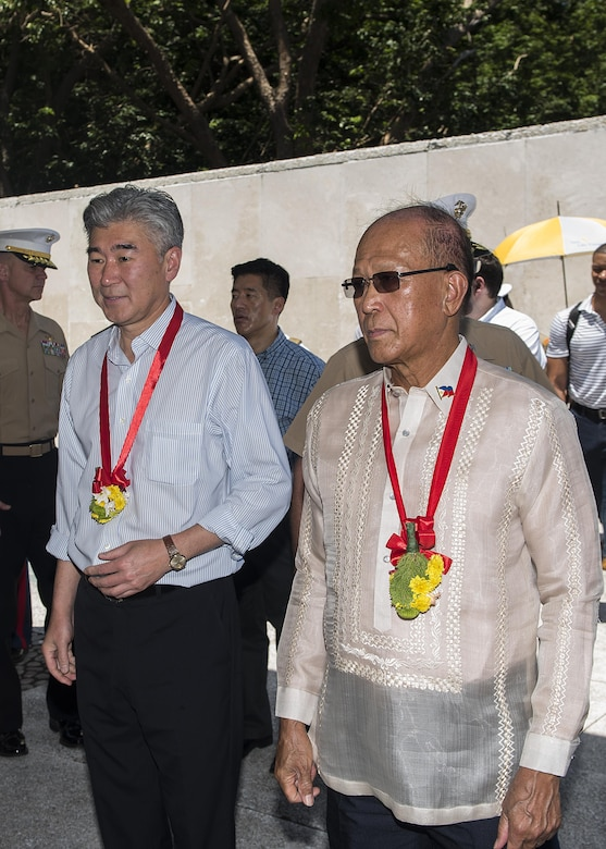 The Honorable Sung Y. Kim, U.S. Ambassador to the Philippines, and Delfin N. Lorenzana, Philippine Secretary of National Defense, arrive at a ceremony to mark the 75th anniversary of the fall of Corregidor to the Japanese during World War II on Corregidor, Cavite, May 6, 2017. The ceremony was held to commemorate the Marines, Soldiers, Sailors and Filipinos who fought and sacrificed to defend the Philippines during World War II.