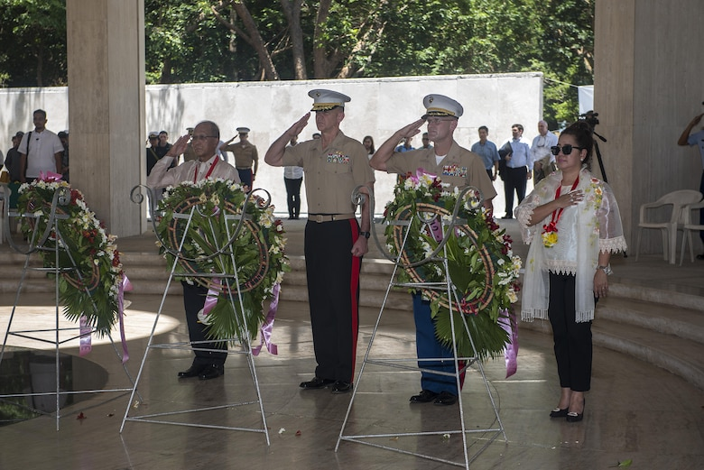 Philippine Secretary for National Defense Delfin Lorenzana, U.S. Marine Brig. Gen. John Jansen, middle left, and Col. Kevin A. Norton honor the fallen with wreaths during a ceremony to mark the 75th anniversary of the fall of Corregidor to the Japanese during World War II on Corregidor, Cavite, May 6, 2017. Jansen is the commanding general of 3rd Marine Expeditionary Brigade and deputy commanding general of III Marine Expeditionary Force. Norton is the commanding officer of 4th Marine Regiment. The ceremony was held to commemorate the Marines, Soldiers, Sailors and Filipinos who fought and sacrificed to defend the Philippines during World War II.